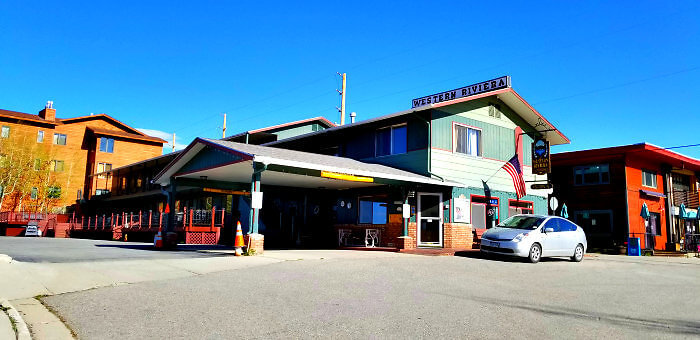 Vintage-like check-in at the lakefront Western Riviera office in Grand Lake, Colorado