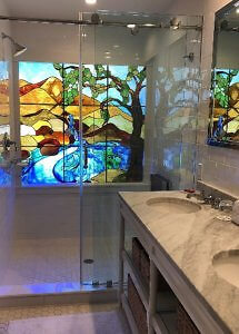 Shower with stained glass window Rancho Caymus Inn Premium Suite