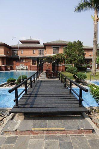 Soaltee Crowne Plaza Kathmandu Hotel bridge to swimming pool area
