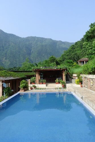 Swimming pool in the mountains at Summit River Lodge by the Trishuli River in Nepal