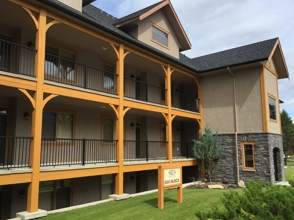 Condo exterior, Bighorn Meadows Resort, Radium Hot Springs BC Canada