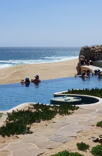 Infinity pool and beach at Grand Solmar Land's End Cabo San Lucas, Baja, Mexico