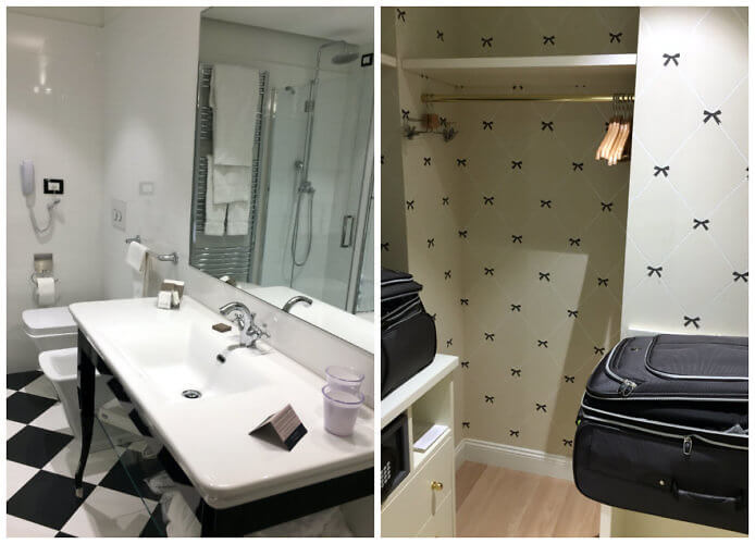 bathroom and closet at the Turin Palace Hotel