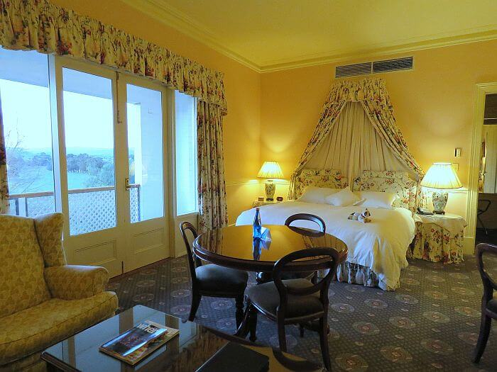 De Castella Suite sleeping area at Chateau Yering Hotel