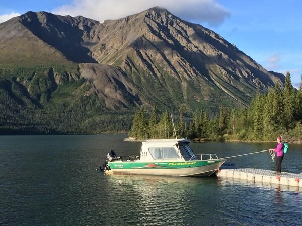 Fishing boat, Kathleen Lake, Dalton Trail Lodge, Yukon, Canada