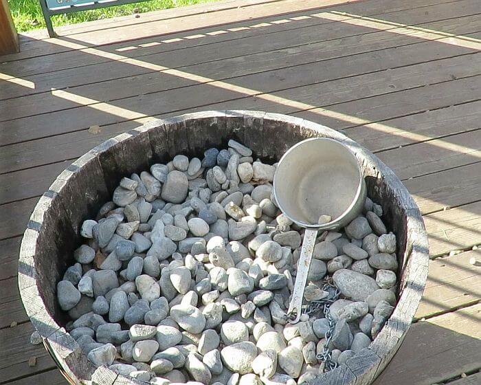 bucket of rocks at Pike's Waterfront Lodge