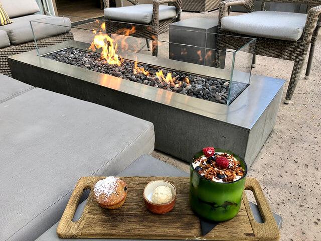 breakfast river terrace inn, fire pit, downtown napa hotel, california
