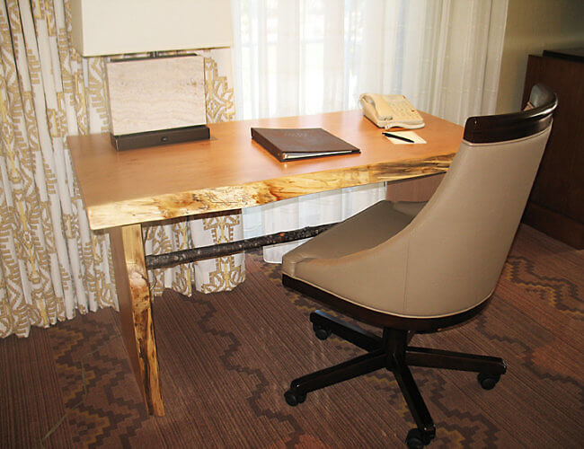 """Live Edge"" Desk, Little America Hotel, Flagsaff, Arizona (Photo by Susan McKee)"