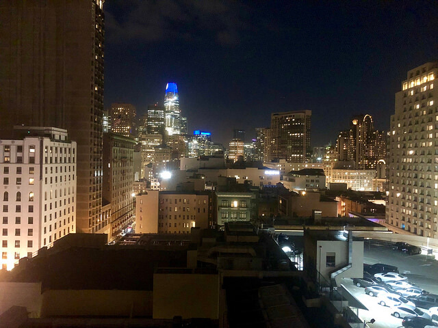 san francisco skyline, salesforce tower, the clift royal sonesta hotel room view