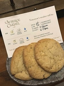 turndown cookies at L'Auberge Carmel