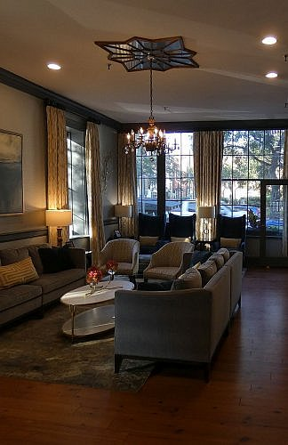 Lobby lounge area at East Bay Inn Savannah, where there is a nightly social hour in this historic building walking distance from everything.