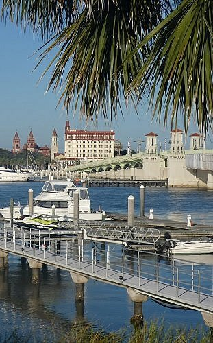 View of Saint Augustine, Florida from Marker 8 Hotel and Marina across the historic bridge