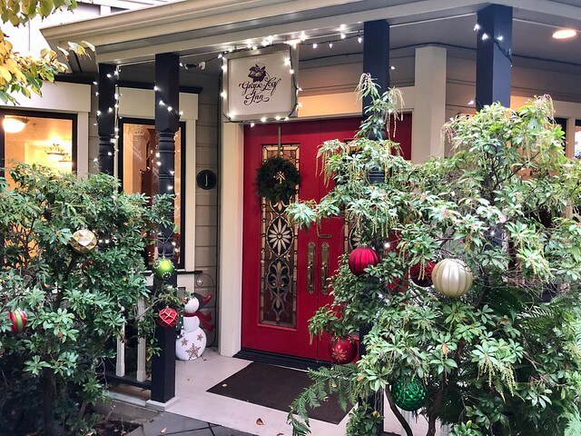 Grape Leaf Inn front door decorated for the holidays.