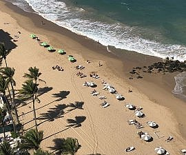 beach view from ocean views room at Marriott San Juan