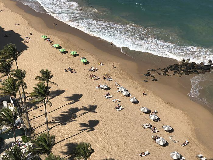 beach view from ocean views room at Marriott San Juan