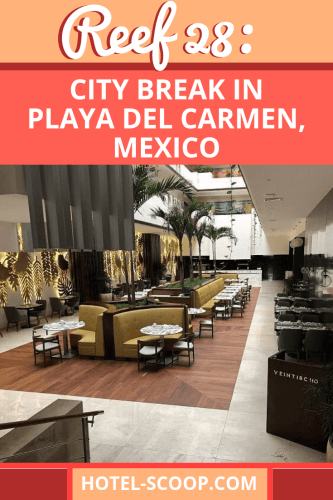 Reef 28 in Playa del Carmen combines the best of a beach vacation, it's one block from Mamita's beach, and a city break, it's one block from 5th Avenue, into a cosmopolitan adult-only getaway.