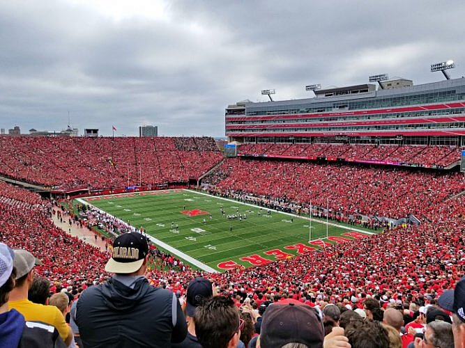 A sea of Cornhusker fans at the Memorial Stadium, Lincoln, Nebraska