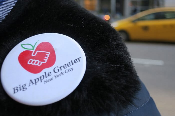 big apple greeter button