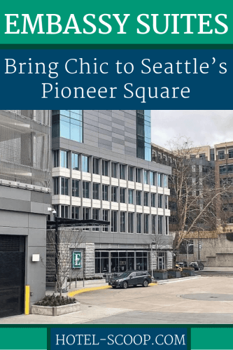 The 23-story LEED-certified (Silver) Embassy Suites Pioneer Square, provides an upscale option for staying in Seattle's Pioneer Square.