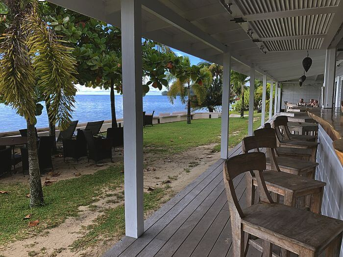 outside breakfast deck Moorea Beach Lodge