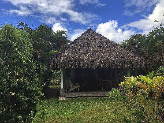 outside a bungalow at Moorea Beach Lodge