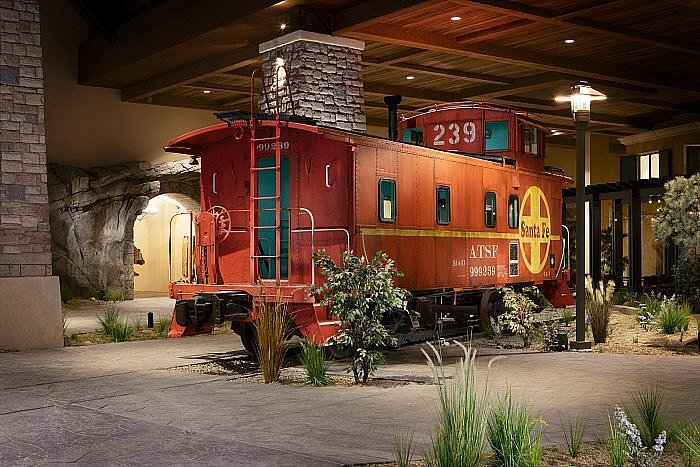 The autehentic Colorado rail car in the Grand Lodge of the Gaylord Rockies Resort in Aurora, CO Photo Credit: Gaylord Rockies