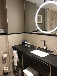 bathroom sink and vanity in Executive room, Hilton Munich City