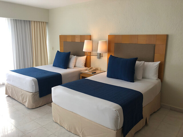 park royal beach resort cancun presidential suite, park royal cancun hotel room, double beds, cancun mexico