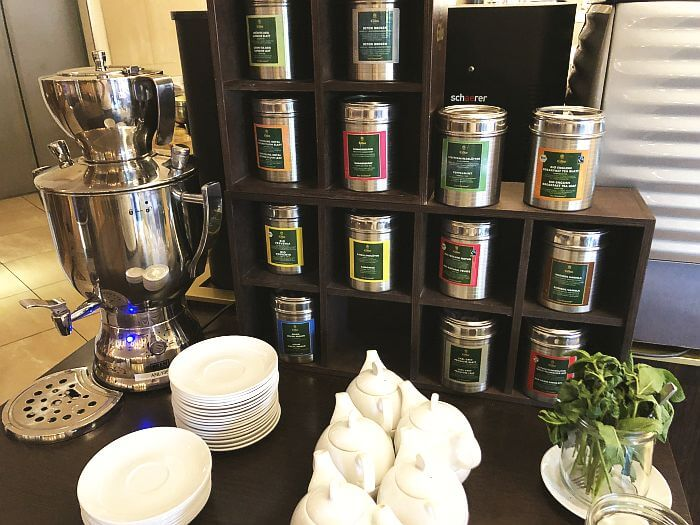 tea selection offered at breakfast buffet, Movenpick Geneva