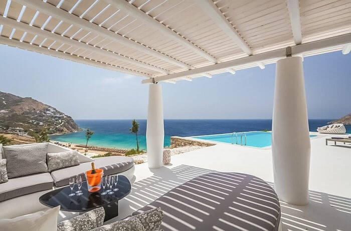 view from a Greek island villa to rent