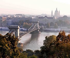 Budapest, Danube River and Szechenyi Chain Bridge and Gresham Palace