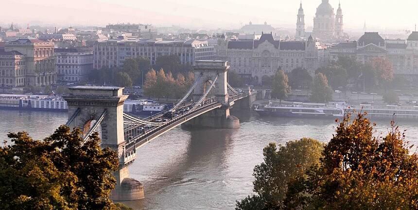 Budapest, Danube River and Szechenyi Chain Bridge and Gresham Palace