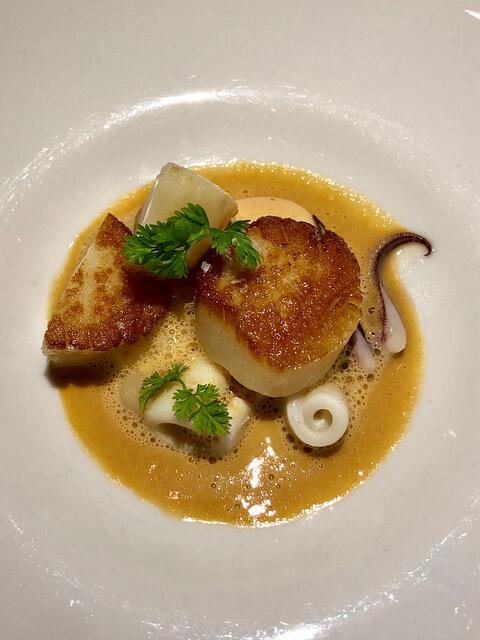 diver scallops baby squid, luce restaurant, michelin star cuisine, intercontinental san francisco