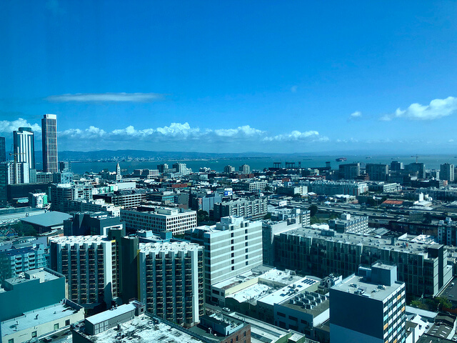 san francisco skyline, san francisco bay, view from intercontinental san francisco hotel