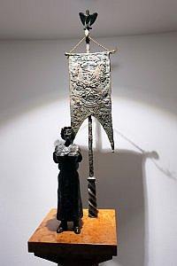 King Matthias Corvinus Statue and Code of Arms, corridor of Kempinski Corvinus Budapest