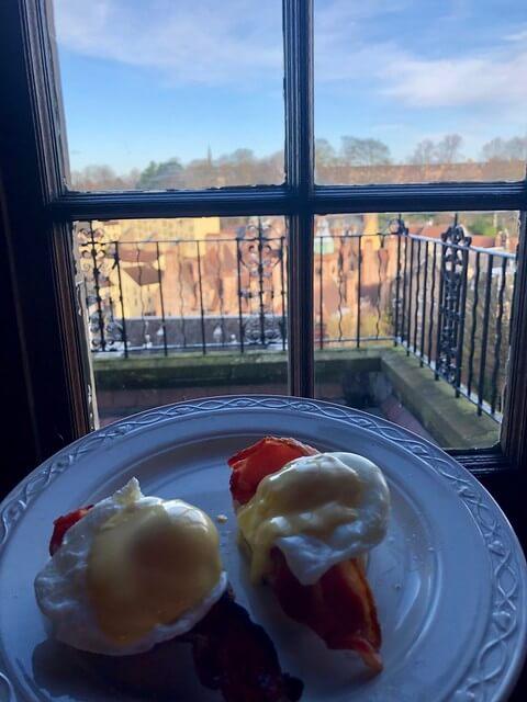 eggs benedict, breakfast at b+b edinburgh scotland