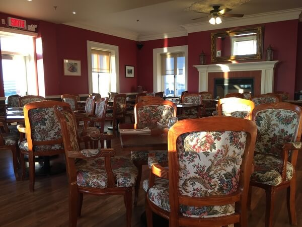 Dining room, Chateau Lamontagne, Sainte-Anne-des-Monts, Gaspé, Quebec Canada