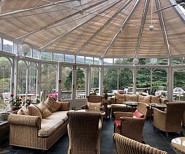 gliffaes country house hotel conservatory, luxury hotel in brecon beacons national park south wales