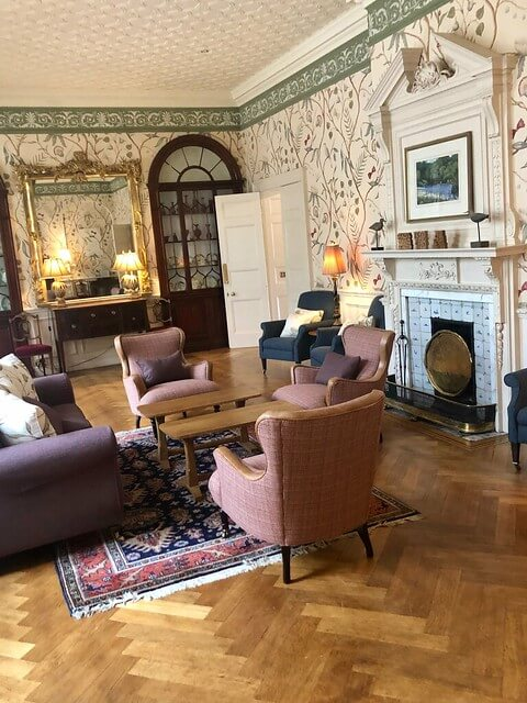gliffaes country house hotel drawing room, luxury hotel brecon beacons national park south wales, living room