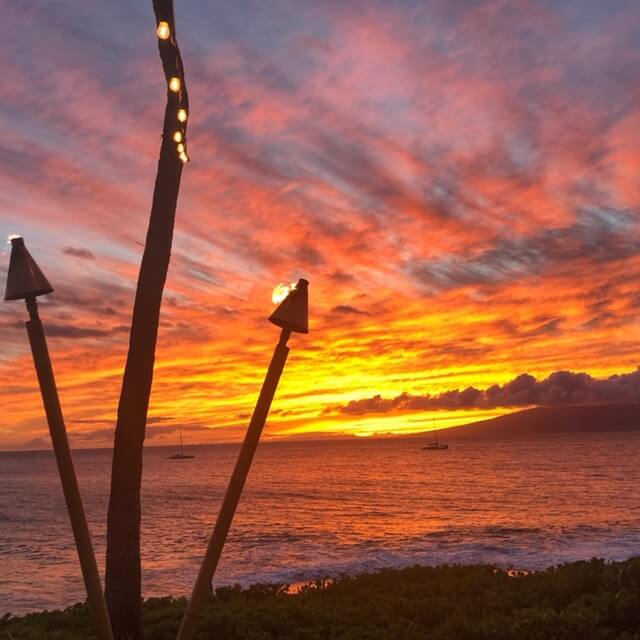 the torch lighting ceremony at royal lahaina resort on maui