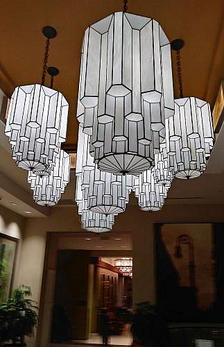 lobby light fixtures at Hilton Garden Inn downtown Rochester