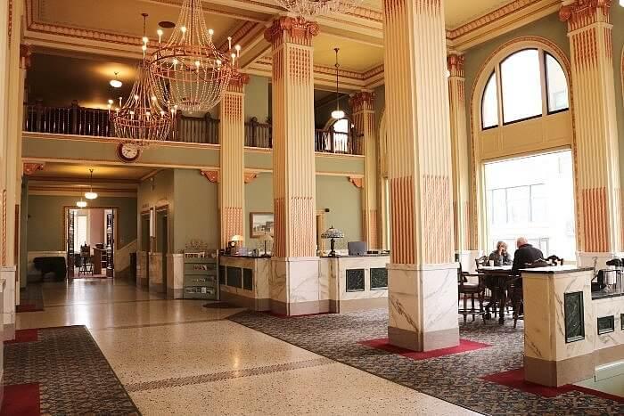 Elegant lobby of Finlen Hotel, Butte, MT