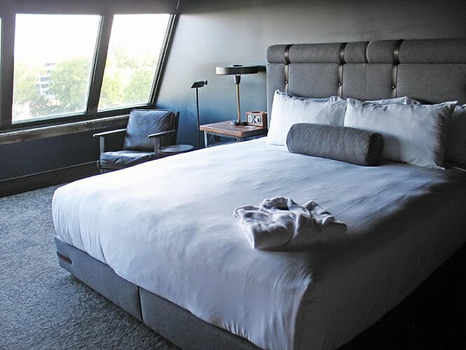 Guest room, Ironworks Hotel, Indianapolis, Indiana