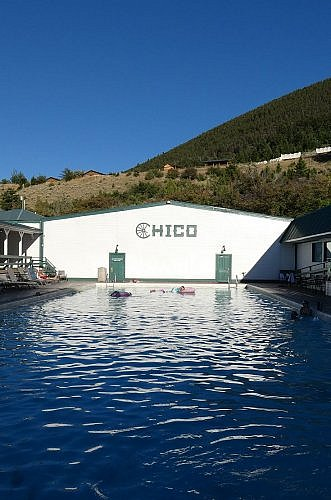 Warm pool at Chico Hot Springs Resort in Montana, a good place to stay near Yellowstone National Park