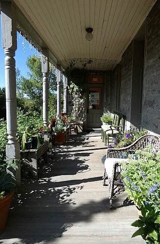 Porch at the Elling House Inn bed and breakfast in Virginia City, Montana, an 1876 mansion in a historic mining town