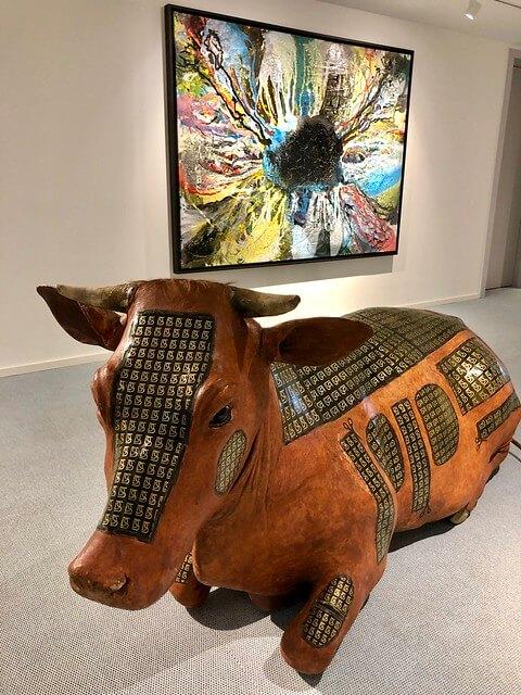 cow statue, modern art on display at Lend Hotel in Graz, Austria.