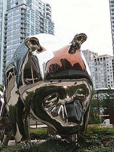 public art outside The Douglas in Vancouver, Canada