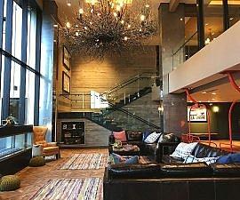 Welcoming lobby at The Josie hotel, Kootenay Rockies