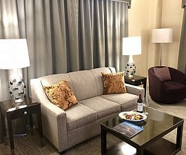 shattuck bay suite with sleeper sofa and coffee table