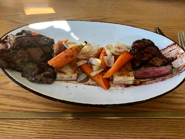 New York strip steak with carrots and potatoes from Zino restaurant.
